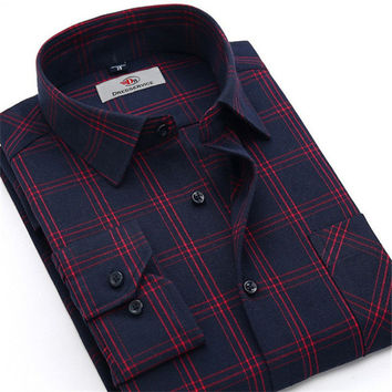 Men Plaid Long-sleeved Casual Shirts Flannel Slim Fit Chemise Homme