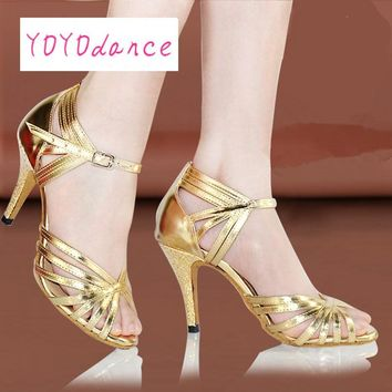 Women's Latin Dance Shoes Female High-heeled Soft Outsole  Adult Ballroom Dancing Shoes Salsa Silver Gold Tango Square Shoe