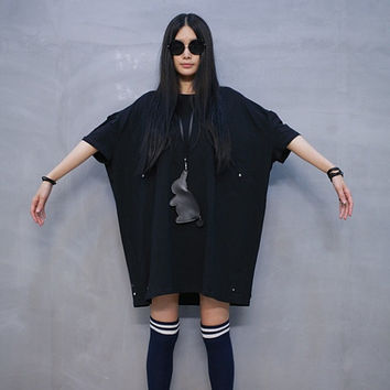Long t shirt dress/plus size t-shirt/black shirt dress/women tees/batman t shirt/women top/tshirts cotton women (ESR34)