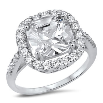 Sterling Silver CZ Simulated Diamond Halo Ring 15MM