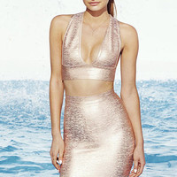 Daring Dryad Rose Gold Bodycon Two-Piece Dress