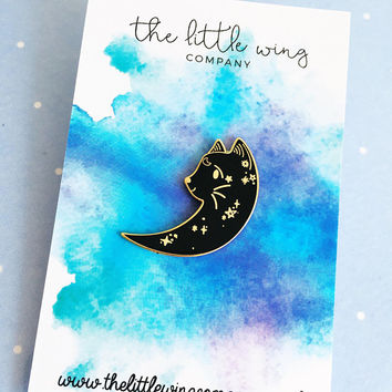 Moon Cat Enamel Pin | Lapel Pin | Cute Enamel Hat Pin | Cat Lady Pin | Space Kitten Pin | Kitty Pin | Mystical Cat Pin | Moon Pin | Cat Pin