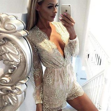 VONE05F8 SUDB Sexy Fashion Lace Stitching Jumpsuits Women Clothes 2018 New Long Sleeve Transparent Women Boysuits Deep V-Neck Jumpsuits