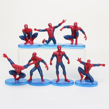 7pcs/set Red Spiderman action figures toy versions for kids New Superhero spider man figurins DIY brinquedos party supplies