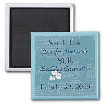 80th Birthday Save the Date Blue Floral Magnet