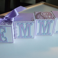 Baby Name Block, Name Blocks, Wooden Name Blocks, Baby Girl, Baby, Newborn, Nursery, Baby Shower, Baby Gift, Paisley, Purple, Turquoise