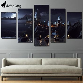 HD Printed 5 piece canvas Harry Potter School Castle Hogwarts Painting