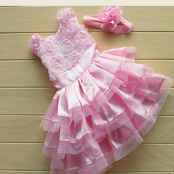 2017 New Rose Garden Pink Rosette Silk Dress Easter Flower Baby Girl Wedding New +headband