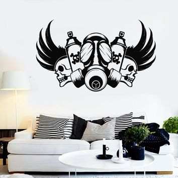 Vinyl Wall Decal Graffiti Artist Skull Gas Mask Stickers Mural Unique Gift (554ig)