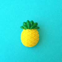 """Handmade Femme Fruit Collection """"Pineapple Pinup"""" Yellow and Green Pineapple Brooch Pin Collar Pin"""