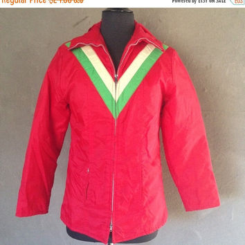 HALF OFF Vintage 1970s Sportsguide Red White Green Ski Jacket M