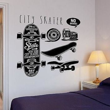 Wall Decal Skateboard New York City Skater Sport Extreme Vinyl Stickers Unique Gift (ed117)
