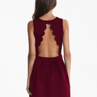 Fall Fashion Wine Red Sleeveless Backless Pleated Dress