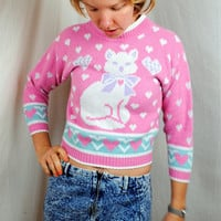 Cute Vintage 80s Kitty Cat Sweater