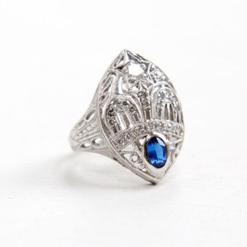 Antique Art Deco 10k White Gold Diamond & Blue Spinel Ring- 1920s Size 5 Order of Amaranth Masonic Women's Crown and Star Fine Jewelry
