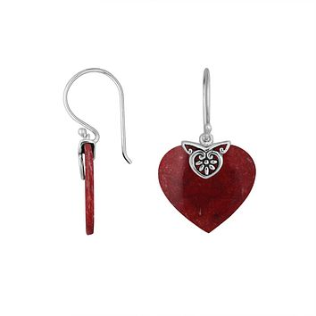 AE-6235-CR Sterling Silver Heart Shape Earring With Coral
