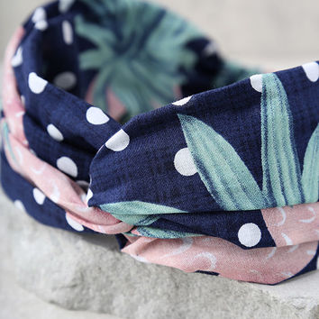 Strawberry Delight Navy Blue Print Headband