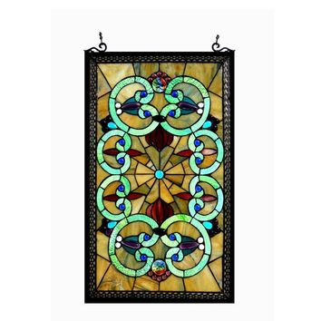 Heather, Tiffany-Glass Victorian Window Panel 17X28