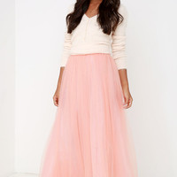 Scoop of Sorbet Blush Tulle Maxi Skirt