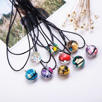 Hot Glass Jewelry Eevee Pokeball Necklace Pokemon Ball Pendant Personalized Picture Necklaces