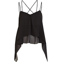 Black strappy layered swing top