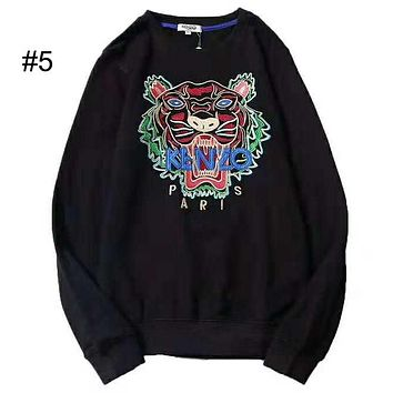 KENZO 2018 new embroidered tiger head couple models round neck loose hooded sweater #5