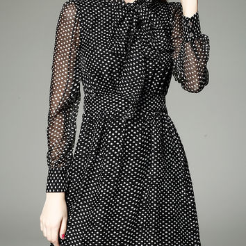 Black Polka Dot Bow-Tie Vintage Dress