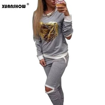 XUANSHOW 2018 Hot Gold Heart Hollow Out Lady Tracksuit Women Hoodies Sweatshirt +Pant Sportswear Costumes Track suit 2 Piece Set