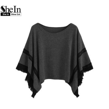 SheIn Women Sweaters and Pullovers Oversized Sweater Winter Womens Fashion Autumn Crochet Fringe Hem Poncho Knitted Sweater