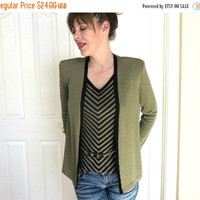 Green Taupe & Black Sweater Vest and Jacket with Belt Detail Vintage 1988