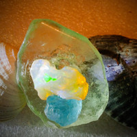 "Jewelry ring Opal, Aquamarine, Sea Glass, Genuine Mexican Silver, size 6 1/2""- 7"" Rough w/Flash."
