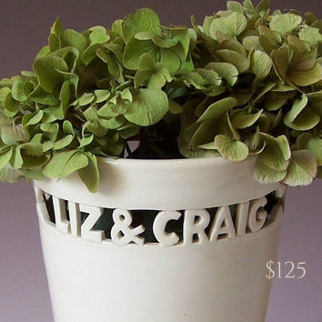 Custom Wedding Gift - Heirloom Vase with Names & Wedding Date / Anniversary, Commitment Ceremony