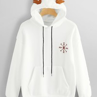 Snowflake And Letter Embroidered Sweatshirt