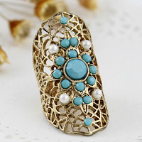 Cut-Out Floral Patter Rhinestone Wrap Ring