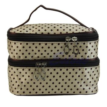 Portable Women Lady Cosmetic Polka Dots Organizer Beauty Makeup Case Pouch Zip Bag Polyester Trunk Large Capacity New Fashion
