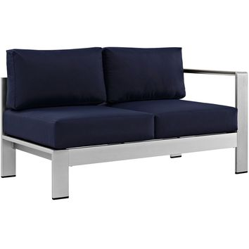 Shore Right-Arm Corner Sectional Outdoor Patio Aluminum Loveseat Silver Navy EE