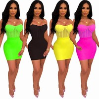 Women Sexy Sleeveless Mesh Bodycon Dress