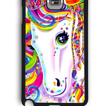 Samsung Galaxy Note 4 Case - Hard (PC) Cover with Lisa Frank Majesty The Rainbow Horse Plastic Case Design