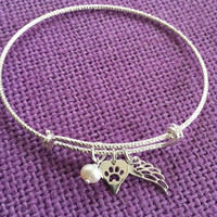 Pet Memorial Jewelry - Dog Remembrance - Sterling Silver Bracelet - Dog Angel Bracelet  - Delicate Jewelry - Tiny Charm Pendant Bracelet