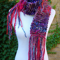 Funky Knit Scarf Imported Fiber Sari Chiffon Ribbon Long Soft and Warm Winter Accent