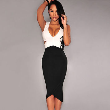 V-neck Backless Deep V Slim Zippers Sexy Metal Bandages One Piece Dress = 5826462785