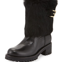 Joni Fur-Cuff Moto Boot, Black - Tory Burch