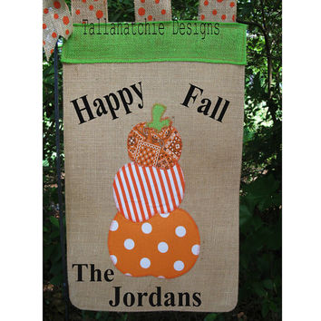 Fall Garden Flag* Pumpkin Garden Flag*Personalized Garden Flag*Halloween Garden Flag