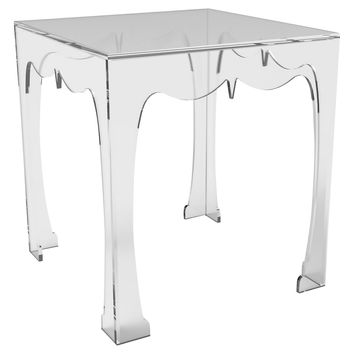 Agra Square Side Table, Acrylic / Lucite, Standard Side Tables