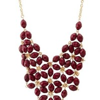 Bead & Rhinestone Flower Bib Necklace by Charlotte Russe - Oxblood