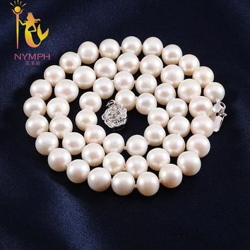 Rope Chain Natural Fresh Water White Near Round Pearl Necklace