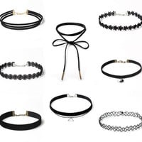 8PCS  Set Womens Black Velvet Choker Necklace Lace Choker Tattoo Necklace- QUICK SHIP ITEM
