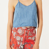 MOTO Cropped Denim Cami - Tops  - Clothing