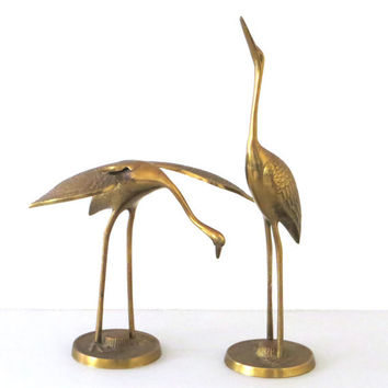 Pair of Mid Century Modern Brass Bird Sculptures Vintage