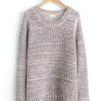Variegated Mix Knitted Sleeve Pulloversd Loose Sweater
